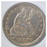 1854 SEATED LIBERTY QUARTER CH AU