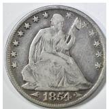 1854-O SEATED LIBERTY HALF DOLLAR FINE