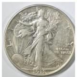 1918 WALKING LIBERTY HALF DOLLAR AU