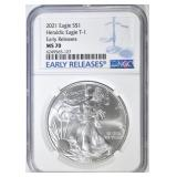 2021 T-1 SILVER EAGLE NGC MS-70 EARLY RELEASES