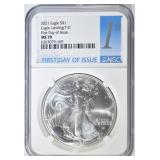 2021 T-2 SILVER EAGLE NGC MS-70 FIRST DAY ISSUE