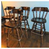 4 Ethan Allen Old Tavern  Bar Height Swivel Stools