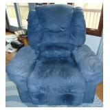 Dark Blue Microfiber Rocker & Swivel Recliner