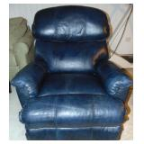 Blue/Teal Leather Like Swivel Recliner