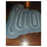 Blue Braded Rugs, Runner, Oval, 2 Throws