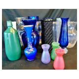 Assorted Glass Vases and Frogs