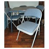 Blue Square Card Table and 4 Chairs