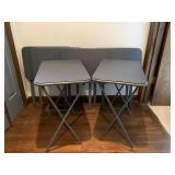 Metal Vinyl Topped Folding TV Tables