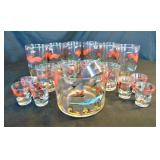 Hazel Atlas Pheasant Bar Glass Set