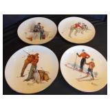 Norman Rockwell Plates & 6 Hangers