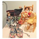 Dolls, Carriage,  & Rocking Chairs