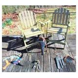 2 Wood Outdoor Chairs & Yard Art