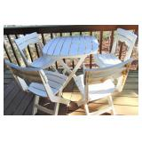 White Plastic Folding Table & 4 Folding Chairs