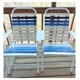 2 Blue & White Folding chairs