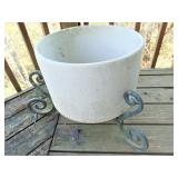 Large Ceramic Planter w/ Iron Stand