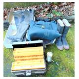 Fishing - 2 Waders, Tackle Box & Boots