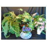 Artificial Ferns and Flowers Lot of 5