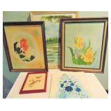 4 Acrylic/Oil Paintings & Needlework
