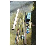 7 Fishing Poles 3 Reels & Tackle Box