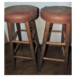 "2 - 30"" Leather Look & Wood stools"