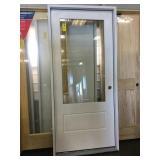 36in x 80in LH fiberglass 3/4 view exterior door.