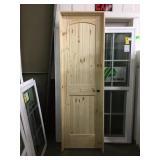 "24"" x 80"" LH Knotty Pine Arch Top Door."