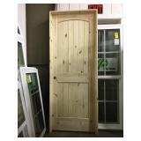 "30"" x 80"" RH Knotty Pine Arch Top Door."