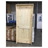 "32"" x 80"" RH Knotty Pine Arch Top Door."