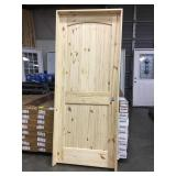 "32"" x 80"" LH Knotty Pine Arch Top Door."