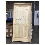 "36"" x 80"" RH Knotty Pine Arch Top Door."