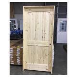 "36"" x 80"" LH Knotty Pine Arch Top Door."
