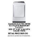 7.4cu.ft Samsung Electric Dryer