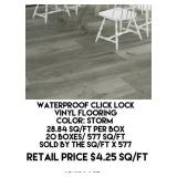 Waterproof Click Lock Vinyl Flooring x 577 sq.ft