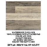 Waterproof Click Lock Vinyl Floor w/Pad x 480sq.ft