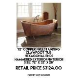 """72"""" Copper Freestanding Clawfoot Bathtub"""