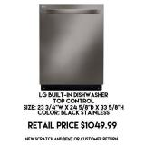 LG Built-In Dishwasher Top Control