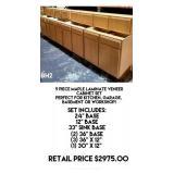 9 Piece Maple Laminate Veneer Cabinet Set