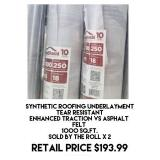 Synthetic Roofing Underlayment x 2 rolls