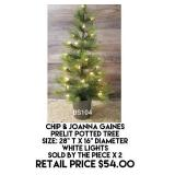 Chip & Joanna Gaines Prelit Potted Tree x 2