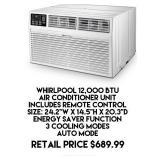 Whirlpool 12,000 BTU Air Conditioner Unit w/Remote