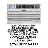 Keystone 12,000 BTU Air Conditioner Unit w/Remote