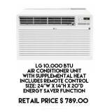 LG 10,000 BTU Air Conditioner Unit w/Remote