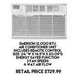 Emerson 12,000 BTU Air Conditioner Unit w/Remote
