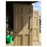 """Damaged 30"""" x 80"""" pine 6 panel door"""