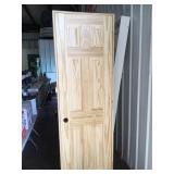 """Damaged 24"""" x 78"""" pine 6 panel door"""