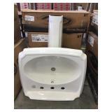 8 in. Linen Complete Pedestal Sink Set