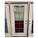 36in x 80in LH fiberglass full view door. Damaged.