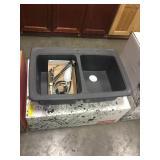 """9"""" Franke Dbl Bowl Sink w/ Faucet & Dispenser"""