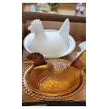 TWO GLASS HEN ON NEST CANDY DISHES AND
