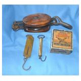 Shell box, pulley, scales